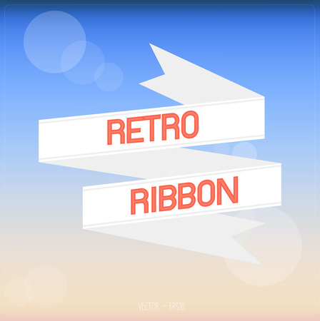White retro ribbon with summer background. Vector