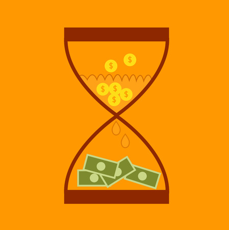 sand dollar: Hourglass concept business finance money transform  Illustration