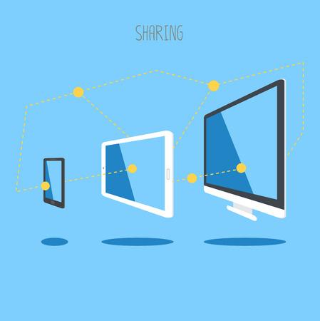 sync: IT device tablet smartphone desktop cloud sync information.