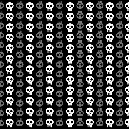 White skull patterns on black background Vector