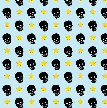 Skull rock star pattern background.  Vector