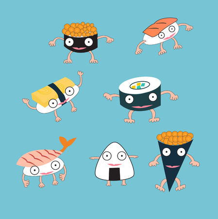 Sushi Japanese food cartoon monster concept Vector