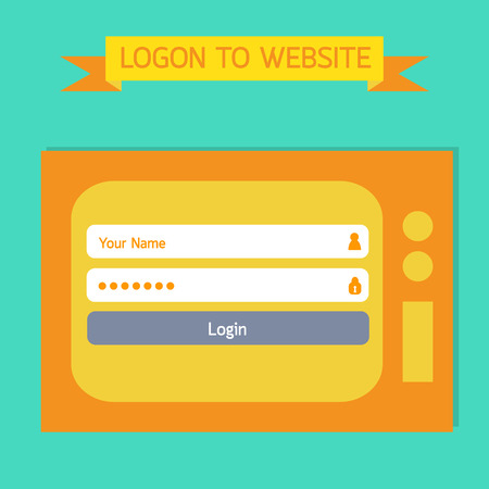 Login template tv retro style.  Vector