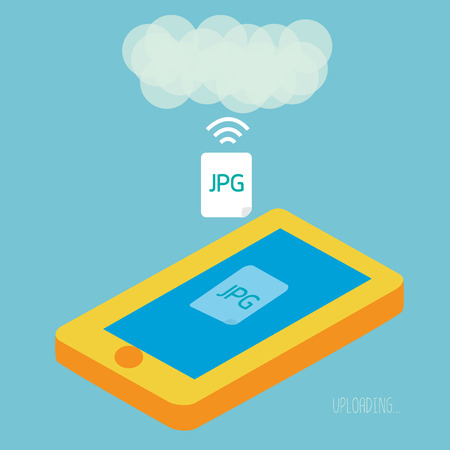 synchronization: Smartphone upload jpeg photo to cloud computing.  Illustration