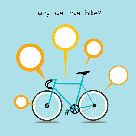 Why we love bike. bicycle with quote text  Vector