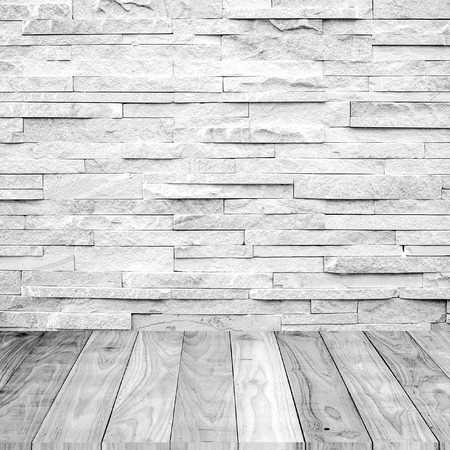 white wood floor with marble stone wall texture background photo