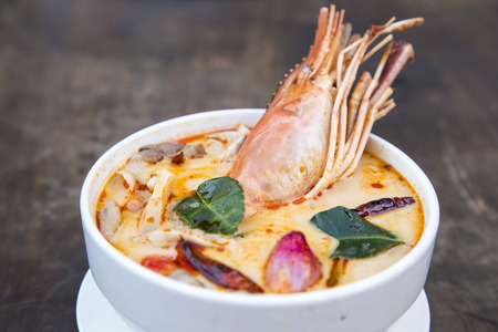 sour grass: Thai spicy soup  Tom yum koong Thai spicy food
