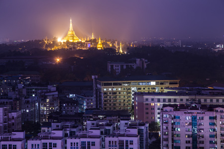 Shwedagon Pagoda Temple beautiful sunset in Yangon, Myanmar or Burma photo