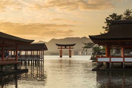 asia deer: Itsukushima Shrine famous place at Miyajima  Hiroshima  Japan Editorial