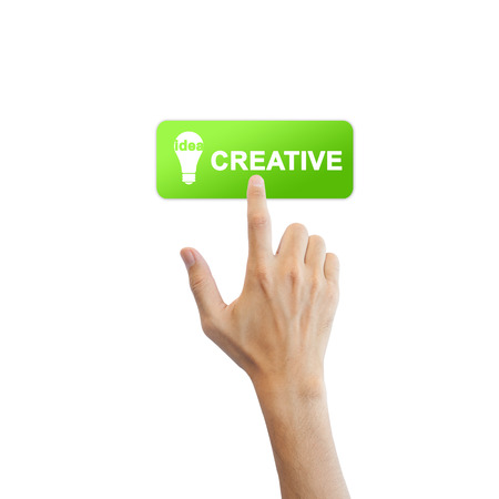 Creative idea button with real hand isolated on white background photo