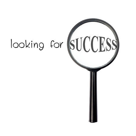 depends: Looking for success with magnify glass isolated on white background