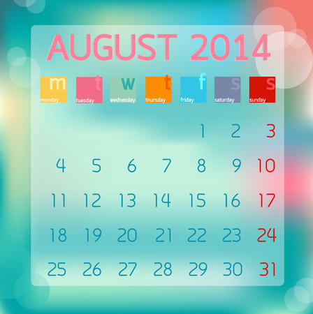 Calendar August 2014 in Flat style background illustration Stock Vector - 28919413