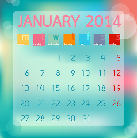 Calendar January 2014 in Flat style background illustration Banco de Imagens - 28919414