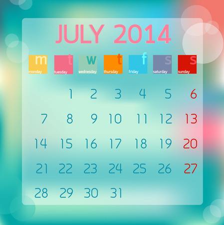 Calendar July 2014, Flat style background, illustration