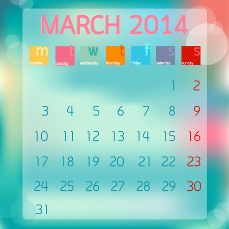 Calendar March 2014, Flat style background, vector illustration Ilustração