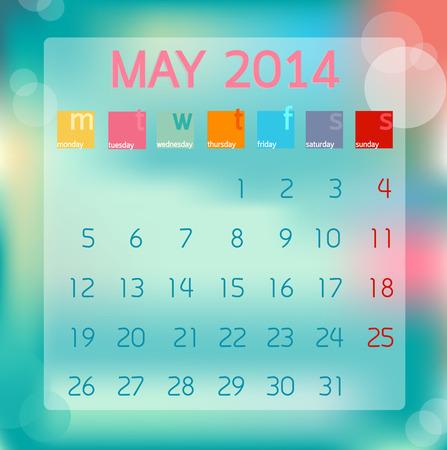Calendar May 2014, Flat style background, illustration