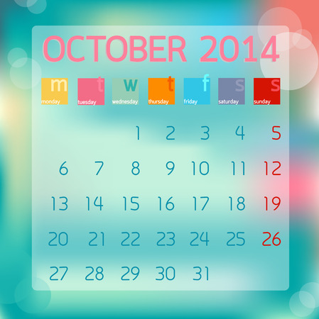 Calendar October 2014 in Flat style background illustration Banco de Imagens - 28919416