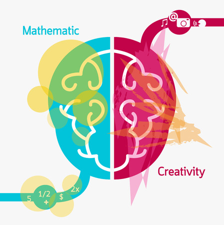 left right: Brain illustration drawing concept creativity. Illustration