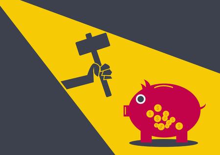 Robber coin bank conceptual Illustration