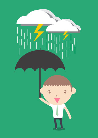 crisis management: Crisis protection businessman cartoon drawing conceptual