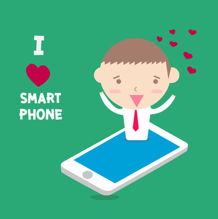 happy moment: businessman I love smartphone with happy moment. Illustration