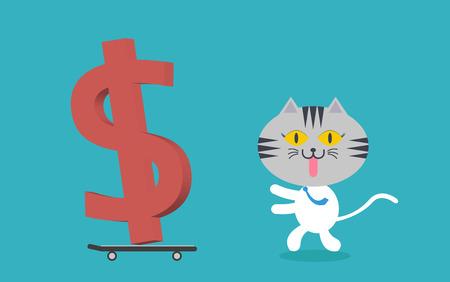money cat: Cat correr con el dinero en el dinero con el pat�n