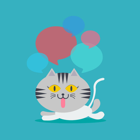 lay down: Cat lay down speech with many bubble quote