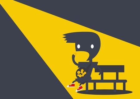 kid eat: Ombra ragazzino scuro mangiare il denaro per il profitto aziendale