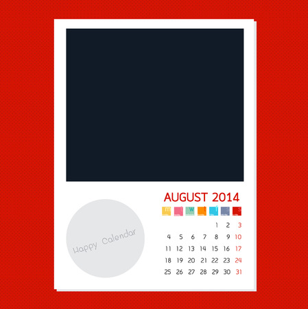 polariod: Calendar August 2014 in Photo frame background