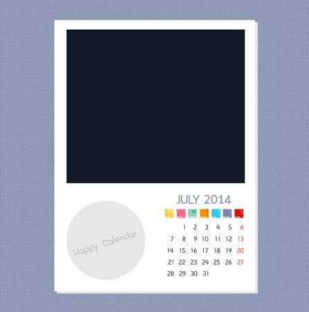 polariod frame: Calendar July 2014, Photo frame background Illustration