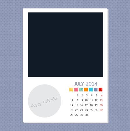 Calendar July 2014, Photo frame background Ilustração