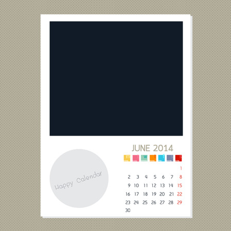 Calendar June 2014, Photo frame background Banco de Imagens - 28650890