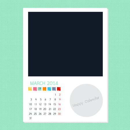 polariod frame: Calendar March 2014 in Photo frame background Illustration