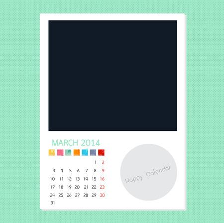 Calendar March 2014 in Photo frame background Ilustração