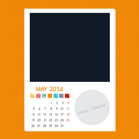 polariod: Calendar May 2014, Photo frame background Illustration