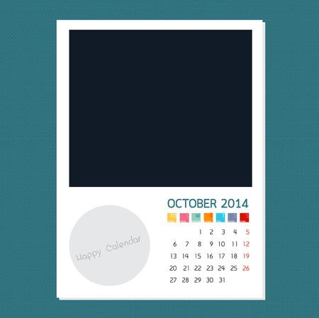 kalender oktober: Kalender oktober 2014 Foto frame achtergrond Stock Illustratie