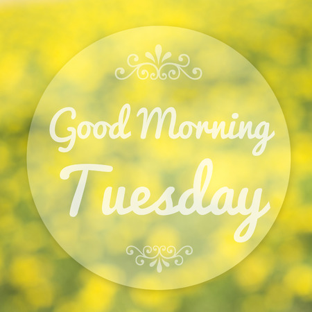good weather: Good Morning Tuesday on blur background Stock Photo