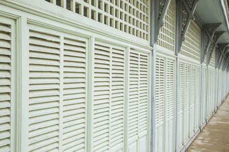Retro vintage green wood windows asian style.