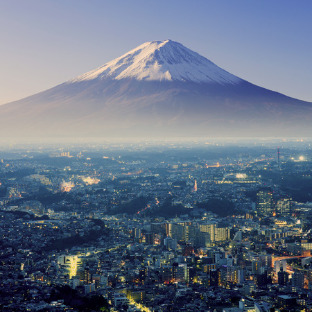 japan sky: Mount Fuji. Fujiyama. Aerial view with cityspace surreal shot. Japan