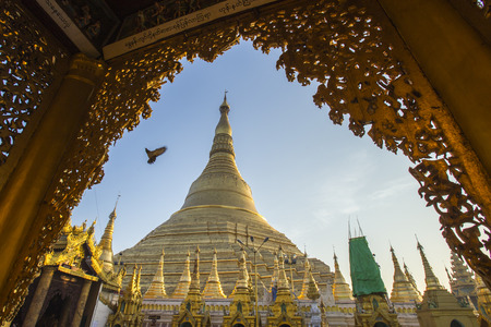 Shwedagon pagoda with blue sky. Yangon. Myanmar or Burma. photo