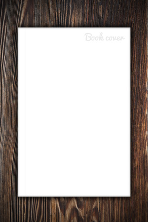 blank book cover: Blank book or magazine cover on wood background Stock Photo