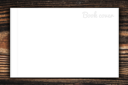 cover up: Blank book or magazine cover on wood background Stock Photo