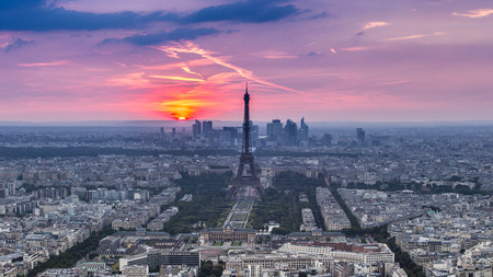 Sunset Eiffle Tower. Paris. France photo