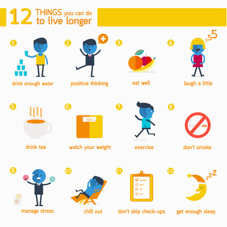 Infographic 12 things you can do to live longer. Vector