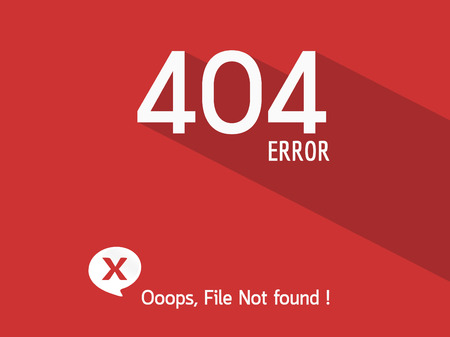 oops: 404 Error file not found on website page Illustration