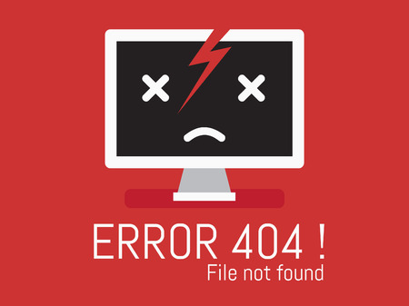 found: 404 Error file not found on website page Illustration
