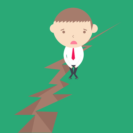 Business man stand on earth risk concept compare earthquake Vector
