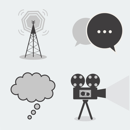 cell phone transmitter tower: Collection 4 part icon chat, cinema, antenna