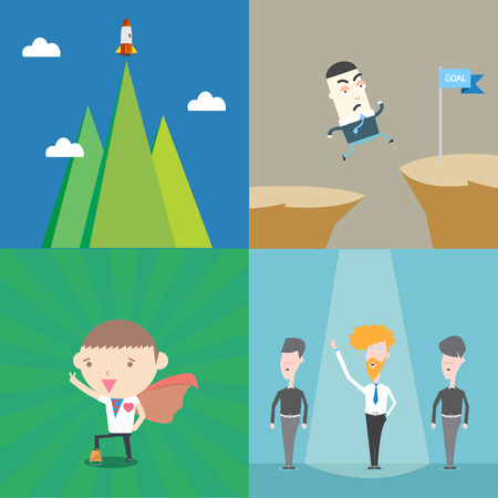 Leadership business conceptual 4 set collection Vector