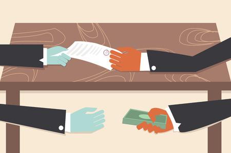 Corrupción dibujo ilustrador de dibujos animados conceptual.